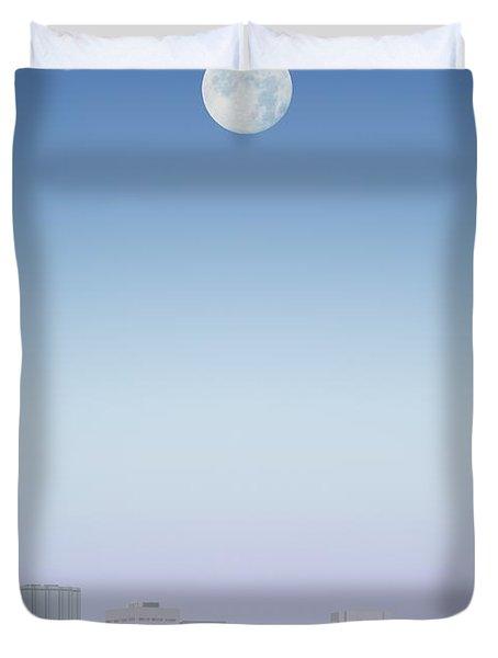 Moon Over Buildings Duvet Cover by Kelly Redinger
