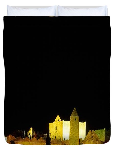 Moon Over Rock Of Cashel, Co Tipperary Duvet Cover by The Irish Image Collection