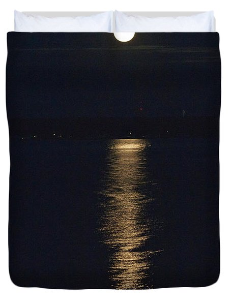 Duvet Cover featuring the photograph Moon Over Seneca Lake by William Norton