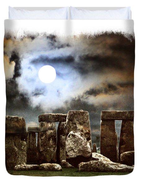 Moon Over Stonehenge Duvet Cover