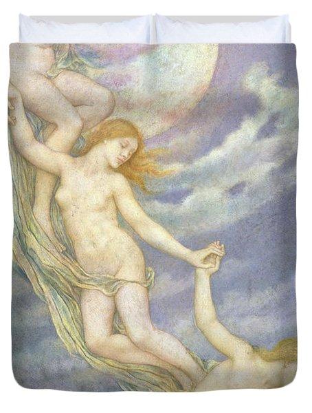 Moonbeams Dipping Into The Sea Duvet Cover by Evelyn De Morgan