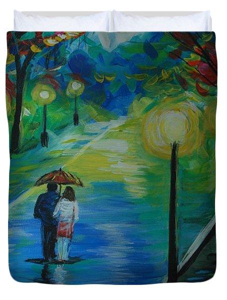 Moonlight Stroll Series 1 Duvet Cover by Leslie Allen