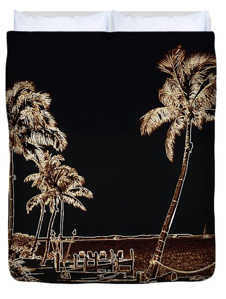 Moonlit Palms Duvet Cover by Rene Triay Photography