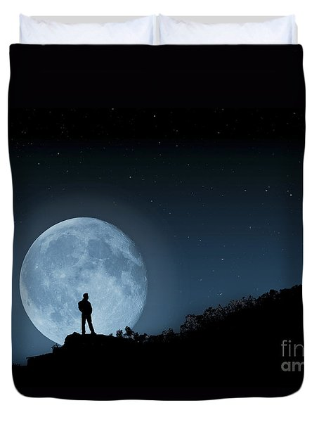 Duvet Cover featuring the photograph Moonlit Solitude by Steve Purnell