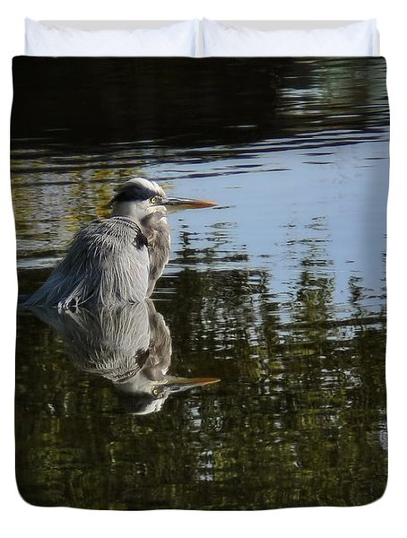 Duvet Cover featuring the photograph Morning Bath by Steven Sparks
