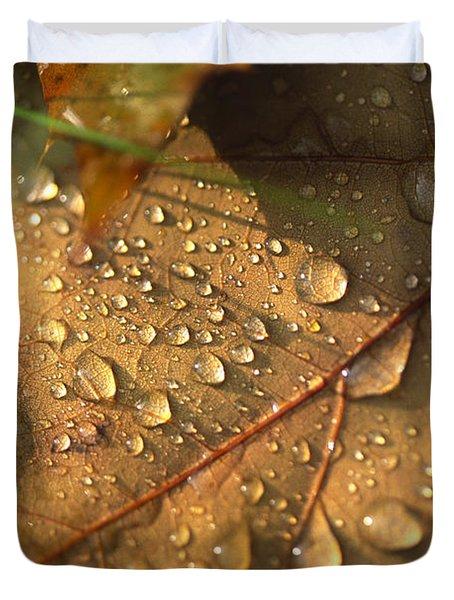 Morning Dew On Oak Leaf Duvet Cover