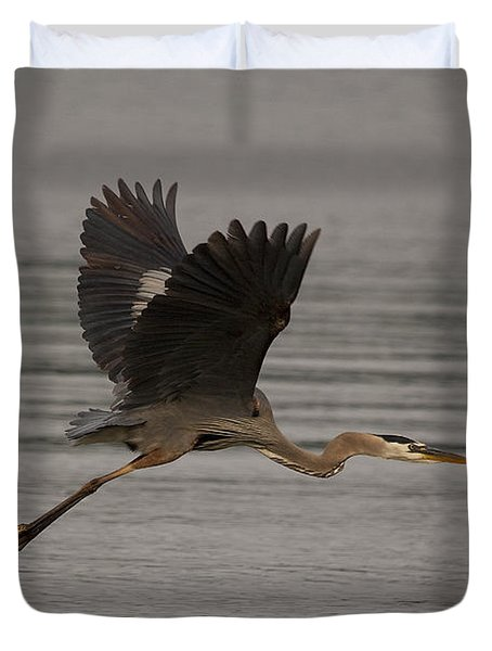 Duvet Cover featuring the photograph Morning Flight by Eunice Gibb