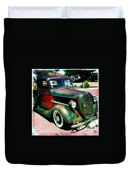 Duvet Cover featuring the photograph Morning Glory Coal Truck by Nina Prommer