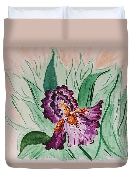 Morning Iris Duvet Cover by Cynthia Morgan
