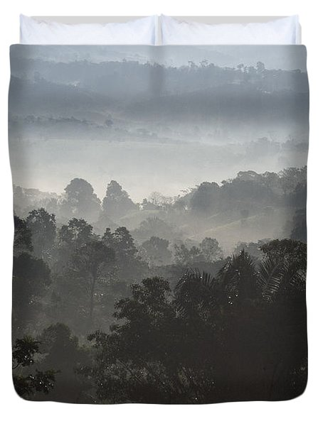 Morning Mist In Panama's Highlands Duvet Cover by Heiko Koehrer-Wagner