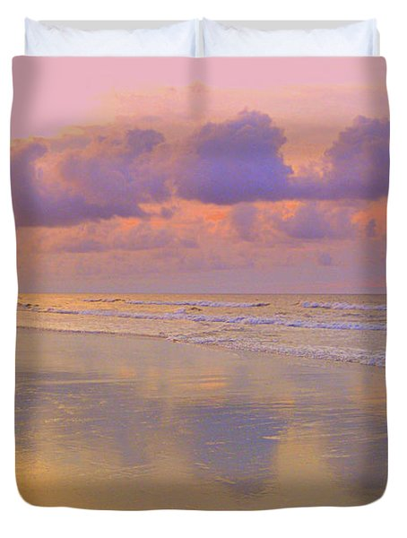 Duvet Cover featuring the photograph Morning On The Beach  by Lydia Holly