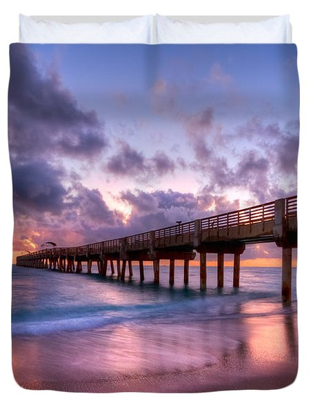 Morning Pier Duvet Cover by Debra and Dave Vanderlaan
