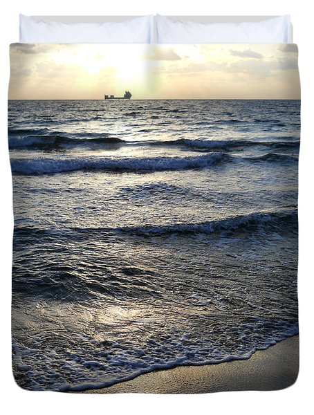 Duvet Cover featuring the photograph Morning Surf by Clara Sue Beym