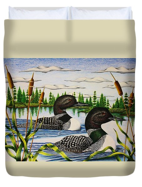 Duvet Cover featuring the drawing Morning Swim by Bruce Bley