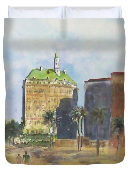 Morning Walk By The Villa Riviera Duvet Cover