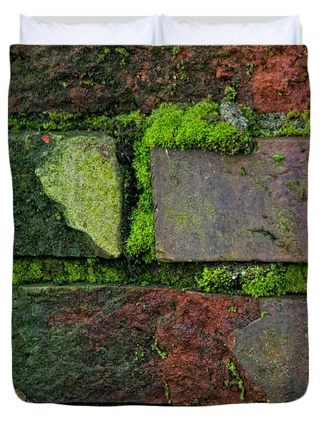 Duvet Cover featuring the digital art Mossy Brick Wall by Carol Ailles