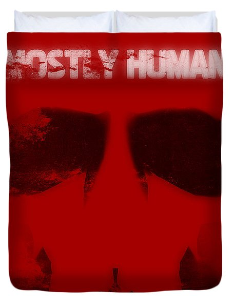 Mostly Human 1 Duvet Cover by Pixel Chimp