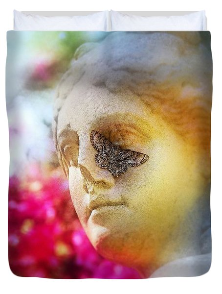 Moth On Statue Duvet Cover by Judi Bagwell