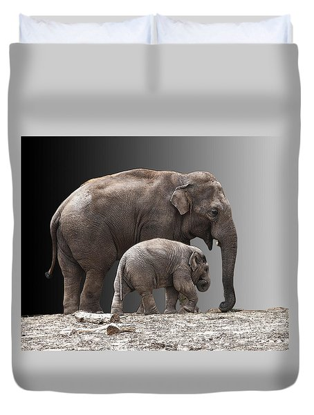 Mother And Baby Duvet Cover by Sheila Laurens