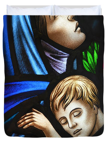 Mother And Child Stained Glass Duvet Cover by Verena Matthew