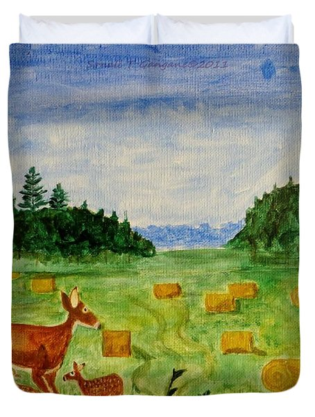 Duvet Cover featuring the painting Mother Deer And Kids by Sonali Gangane