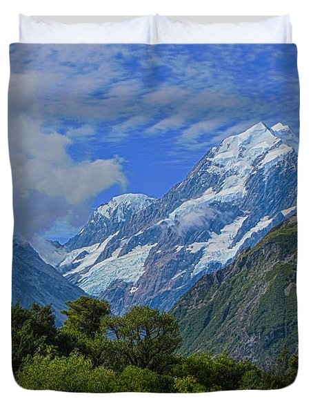 Duvet Cover featuring the photograph Mount Cook by David Gleeson