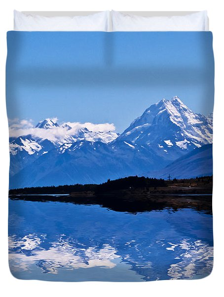 Mount Cook With Reflection Duvet Cover by Avalon Fine Art Photography