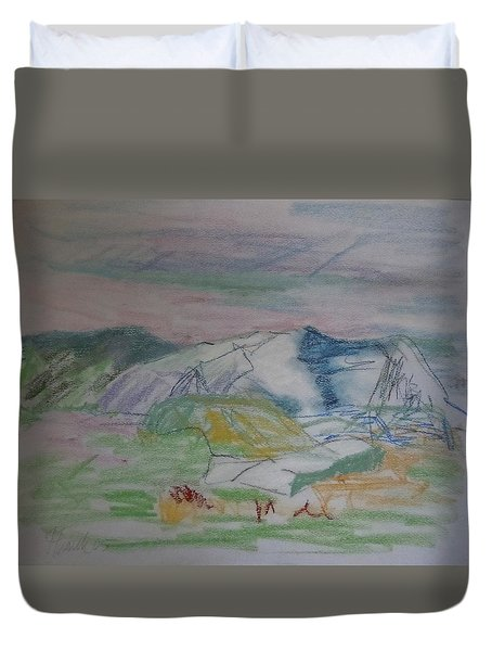 Duvet Cover featuring the painting Mount Desert Back Side by Francine Frank