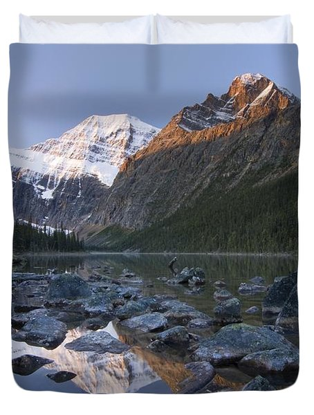 Mount Edith Cavell, Cavell Lake, Jasper Duvet Cover by Philippe Widling
