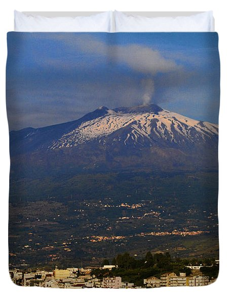 Mount Etna Duvet Cover by David Smith