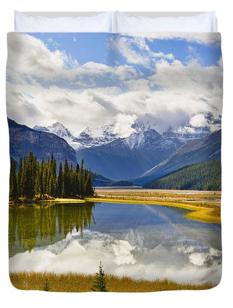 Mount Kitchener Reflected In Pond Duvet Cover by Yves Marcoux
