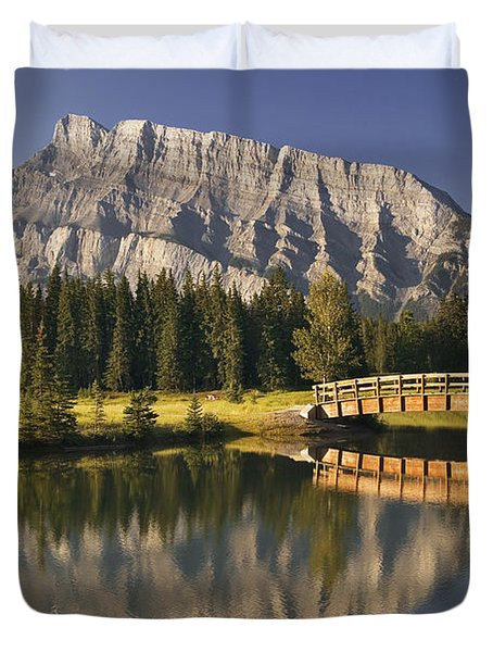 Mount Rundle And Cascade Ponds, Banff Duvet Cover by Darwin Wiggett