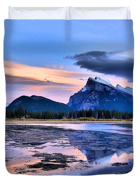 Mount Rundle In The Evening Duvet Cover by Tara Turner