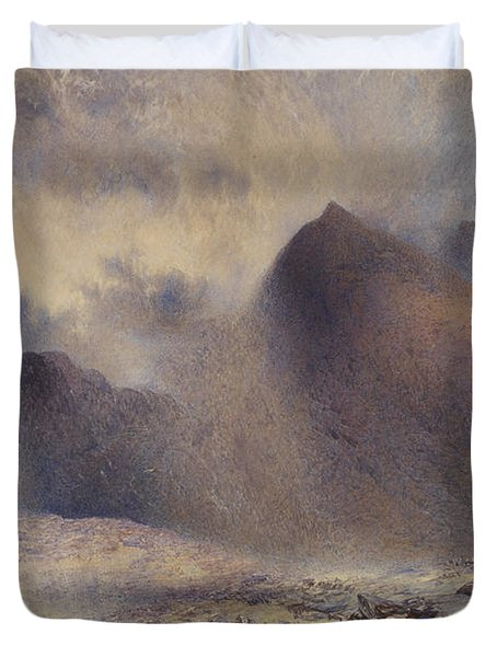 Mount Snowdon Through Clearing Clouds Duvet Cover by Alfred William Hunt