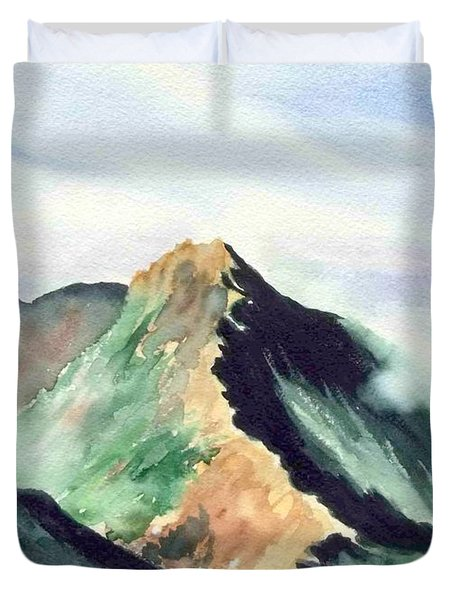 Duvet Cover featuring the painting Mountain  1 by Yoshiko Mishina