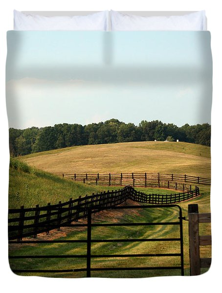 Mountain Farmland Duvet Cover