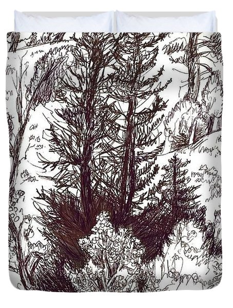 Mountain Pines And Aspen Field Sketch Duvet Cover by Dawn Senior-Trask