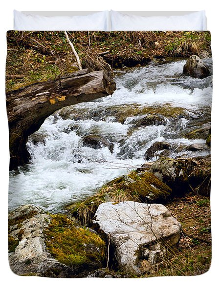 Duvet Cover featuring the photograph Mountain Stream by Les Palenik