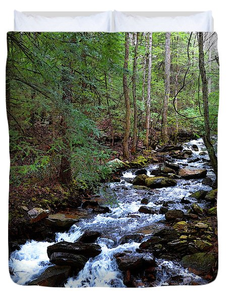 Duvet Cover featuring the photograph Mountain Stream by Paul Mashburn