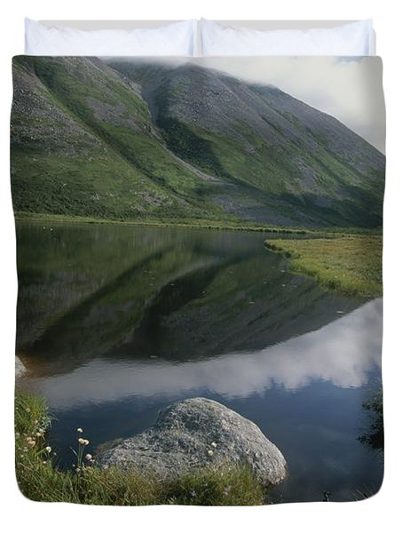 Mountains And Clouds Are Reflected Duvet Cover