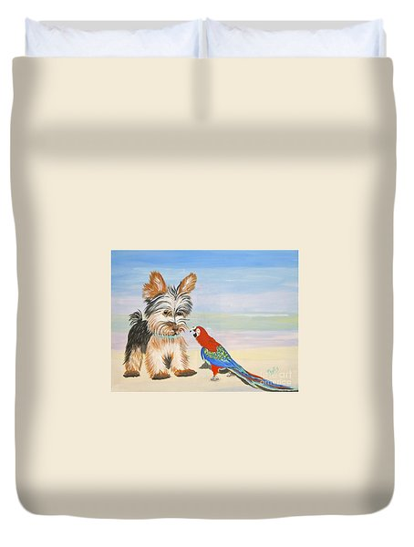 Mouthy Parrot Duvet Cover
