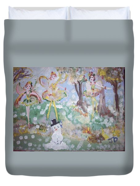 Duvet Cover featuring the painting Mr Frosty And Fairies by Judith Desrosiers