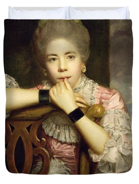 Mrs Abington As Miss Prue In Congreve's 'love For Love'  Duvet Cover by Sir Joshua Reynolds