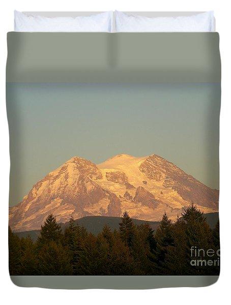 Mt Rainer Sunset Glow Duvet Cover
