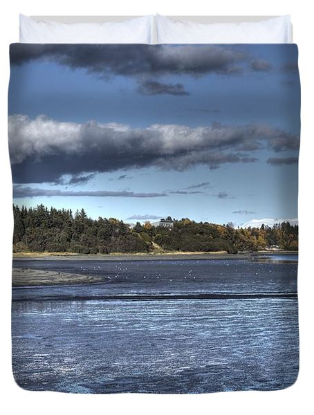 Duvet Cover featuring the photograph Mud Bay  by Michele Cornelius