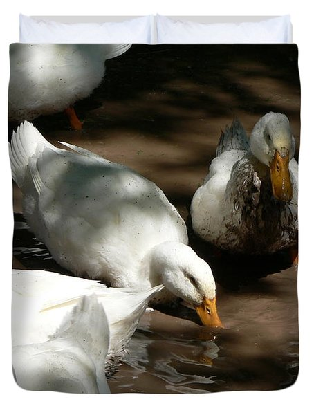 Duvet Cover featuring the photograph Muddy Ducks by Laurel Best