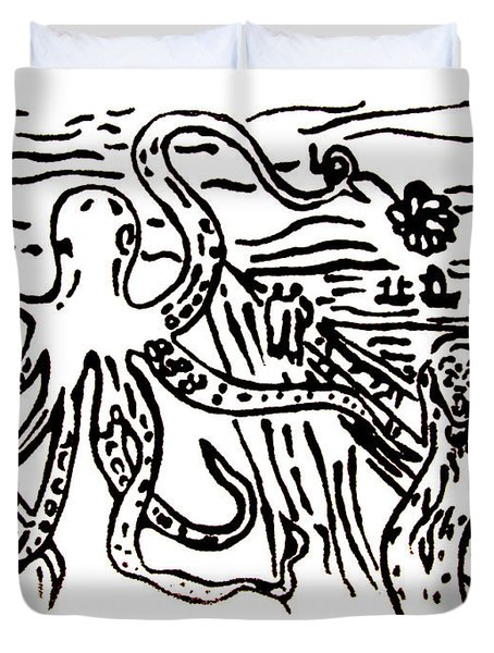 Duvet Cover featuring the painting Munch On Octopussy A Tribute To Munch With Romantic Octopus Pier Screaming Boats Lake Flower Love by M Zimmerman