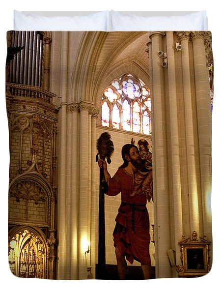 Mural Of Saint Christopher And Baby Jesus Duvet Cover by Lorraine Devon Wilke
