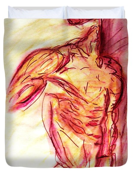 Duvet Cover featuring the painting Muscled Male Nude Lying On Side In Classic Erotic Model Pose In Watercolor Purple And Yellow Sketch by M Zimmerman