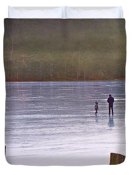 My First Walk On Water Duvet Cover